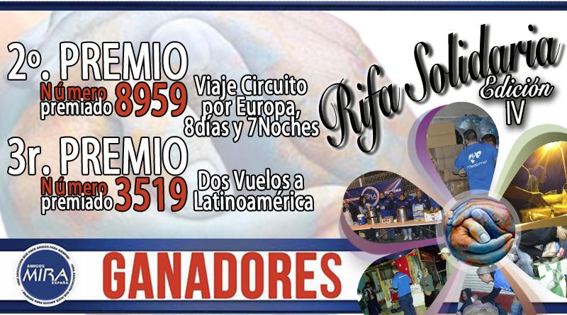 2º y 3r PREMIO RIFA SOLIDARIA Edición IV